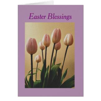 Cartão Envie bênçãos da páscoa com tulipas
