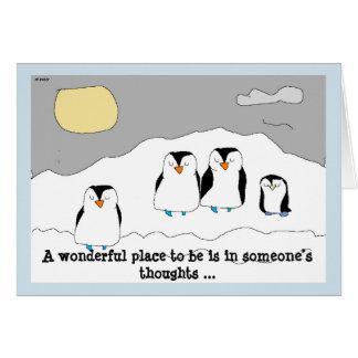 Cartão Envie pinguins falando vagarosamente para iluminar