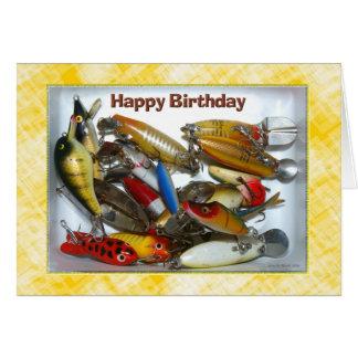 Cartão Equipamento de pesca do feliz aniversario
