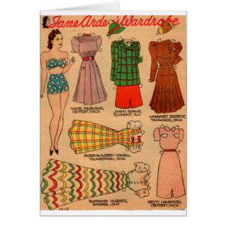 Cartão equipamentos de papel da boneca sete dos anos 30