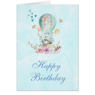 Cartão Equitação bonito do coelho em um aniversário do