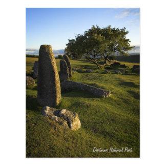 Cartão ereto das pedras de Dartmoor