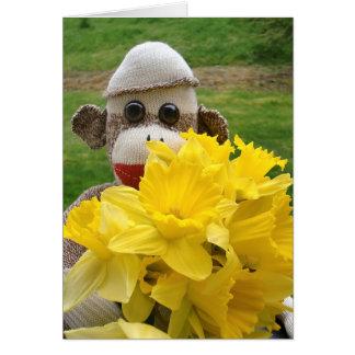 Cartão Ernie que os Daffodils do macaco da peúga cardam