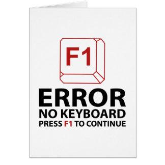 Cartão Erro nenhuma imprensa F1 do teclado a continuar