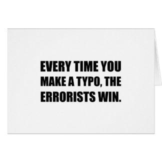 Cartão Erro tipográfico Errorists