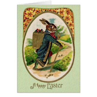 Cartão erudito antigo do coelho da páscoa