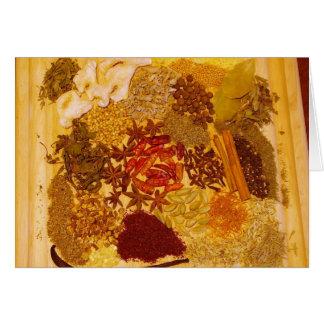 Cartão Ervas e colagem das especiarias