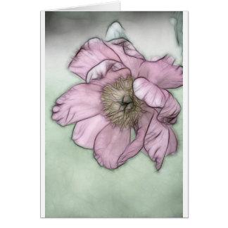Cartão Esboço cor-de-rosa da flor da peônia