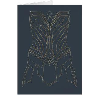 Cartão Esboço da armadura do ouro & do marinho da mulher