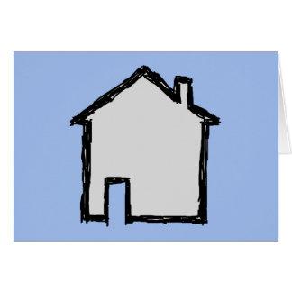 Cartão Esboço da casa. Preto e azul