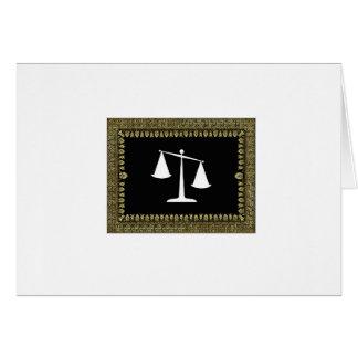 Cartão escalas quadro de justiça