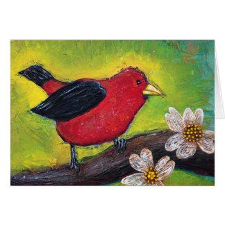 Cartão Escarlate do pássaro do Tanager
