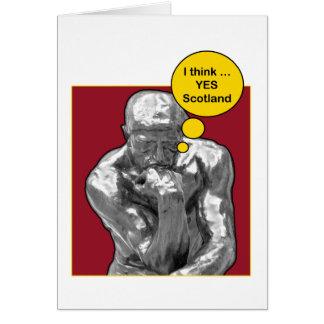 Cartão escocês do pensador de Rodin da