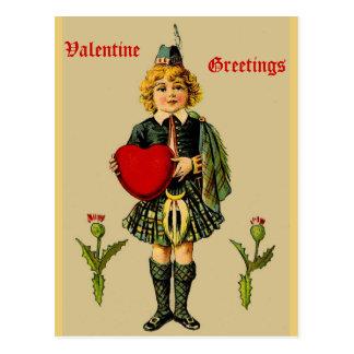 Cartão escocês dos namorados do vintage: Menino no