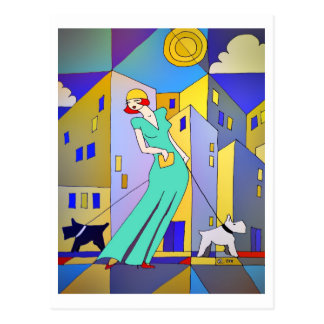 Cartão escocês dos terrier do art deco