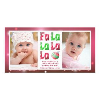 Cartão Escova da aguarela de FaLaLa, vermelho & verde,