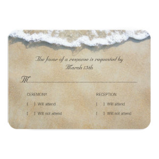 Cartão Escrito no casamento de praia RSVP da areia
