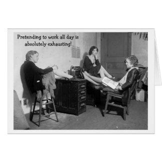 Cartão Escritório do vintage - fingindo trabalhar,
