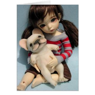 Cartão Escultura 2 da boneca do buldogue francês