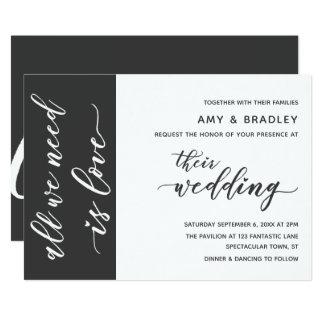 Cartão Escuro - casamento moderno do cinza & o branco do