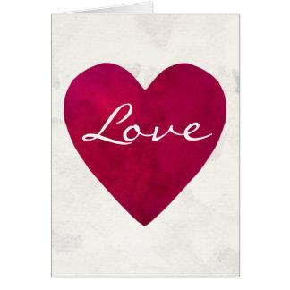 Cartão Escuro - coração vermelho do amor da aguarela