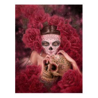 Cartão escuro da fantasia de Las Calaveras