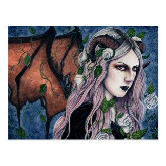 Cartão escuro feericamente gótico dos chifres da