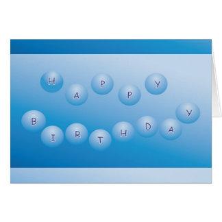 Cartão Esferas do azul do feliz aniversario