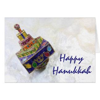 Cartão esmaltado colorido de Hanukkah do dreidel