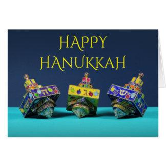 Cartão esmaltado de Hanukkah de três dreidels