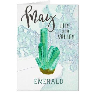 Cartão Esmeralda do aniversário de maio e lírio do vale