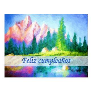 Cartão espanhol da montanha do rosa do aniversário cartão postal