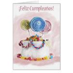 Cartão espanhol do bolo de aniversário de Feliz Cu