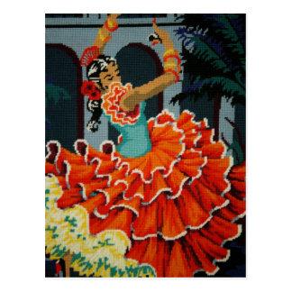 Cartão espanhol do dançarino do Flamenco Cartão Postal
