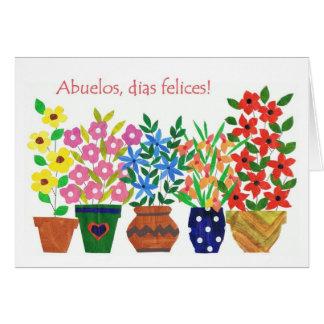 Cartão espanhol do dia das avós do cumprimento