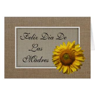 Cartão espanhol do dia das mães - girassol