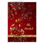 Cartão espanhol do Natal da poinsétia de Candels