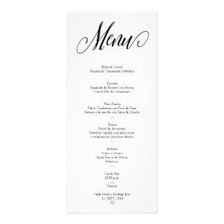 Cartão espanhol editável do menu de NUESTRA BODA