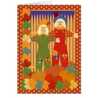 Cartão Espantalho do Dia das Bruxas do jardim