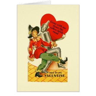 Cartão Espantalho do vintage e namorados do homem da lata