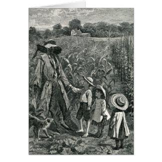 Cartão Espantalho retro e crianças do Dia das Bruxas