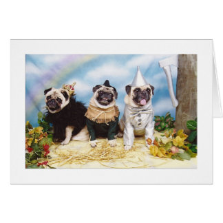Cartão Espantalho Tinman do leão dos Pugs do Dia das