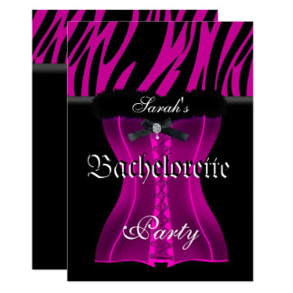 Cartão Espartilho cor-de-rosa do preto da zebra da festa