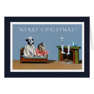 Cartão Espera do gatinho e do filhote de cachorro para o