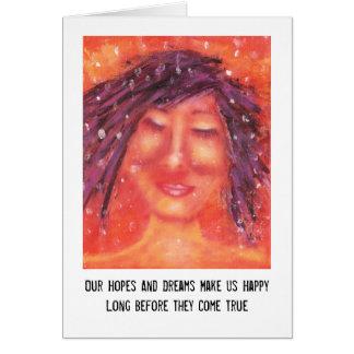 Cartão Esperanças e arte e citações dos sonhos