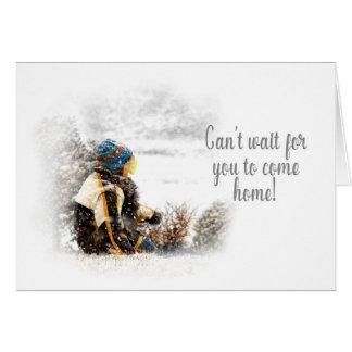 Cartão Esperando o para vir em casa - neve de assento da