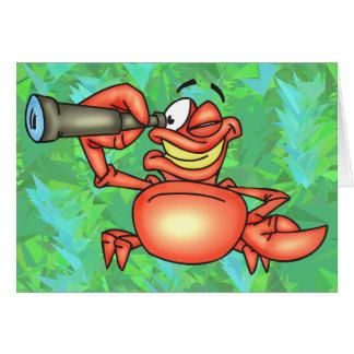 Cartão Espião engraçado do caranguejo