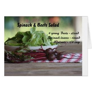 Cartão Espinafre & salada das beterrabas