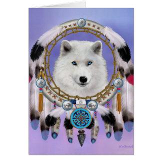 Cartão Espírito indiano nativo do lobo