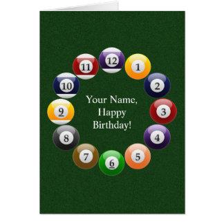 Cartão Esportes coloridos brilhantes do Snooker da